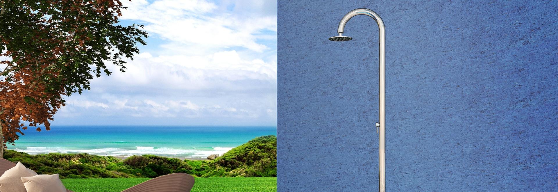 Sogliola 60 m. Beauty - doccia all'aperto nautica di Inoxstyle di acciaio inossidabile per la piscina ed il giardino