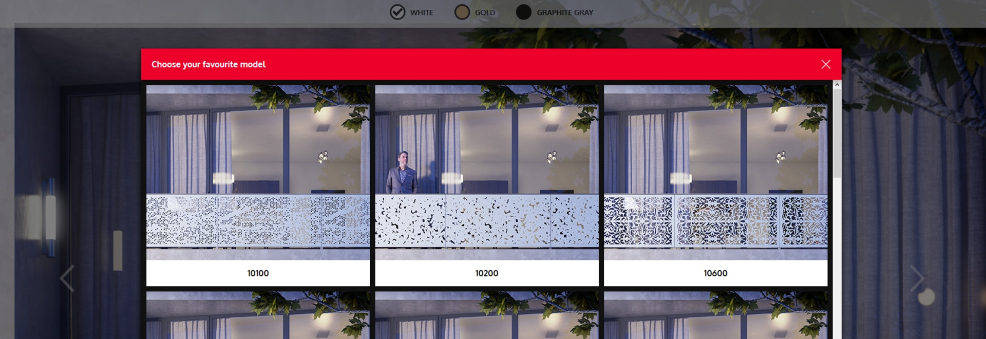 Visualizzazione dei rivestimenti del balcone