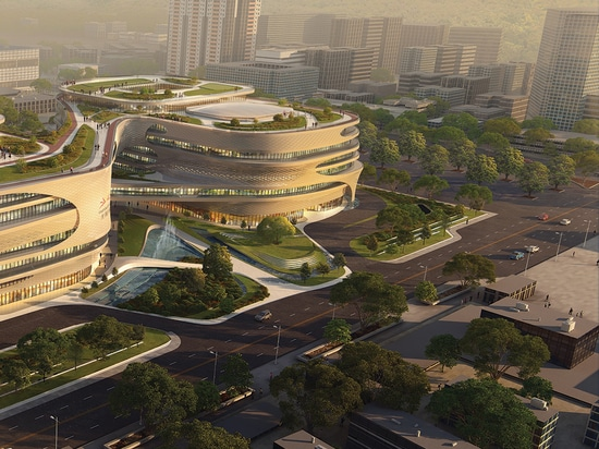 plaza del infinitus degli architetti del hadid di zaha a Guangzhou, terra delle rotture della porcellana