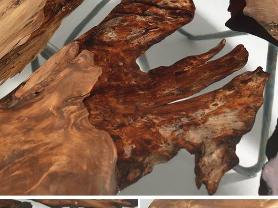 Il legno antico della Nuova Zelanda si è combinato con resina per creare questo piano d'appoggio unico