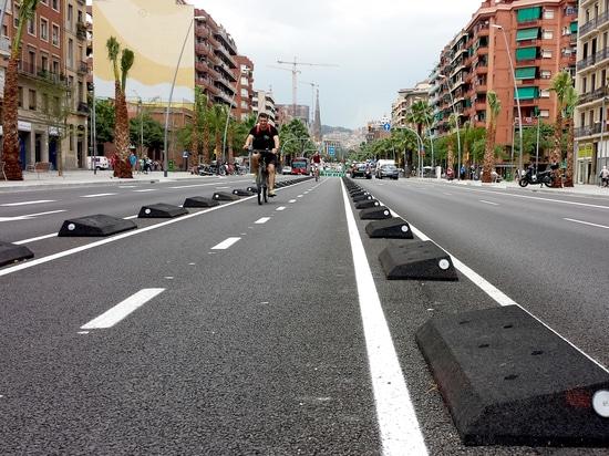 Cordoli delimitatori di piste ciclabili Barcellona