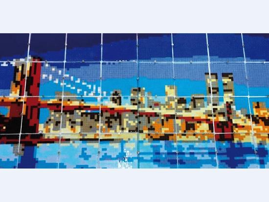 Pannello a mosaico retroilluminato in vetro di Murano - Il Ponte di Brooklyn