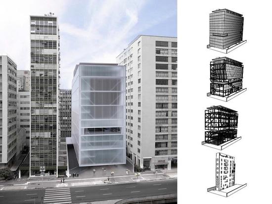 IMS – concetto di MOREIRA SALLES di INSTITUTO dall'architetto Andrade Morettin. Struttura da YCON Engenharia.