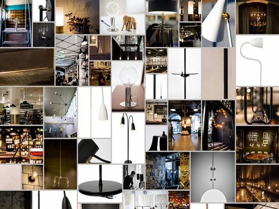 Un collage dei prodotti di illuminazione di RUBN.