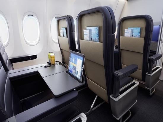 Prima classe di United Airlines. Cortesia di PriestmanGoode