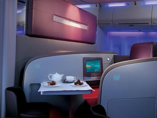 Disposizione dei posti a sedere del ceto alto di Virgin Atlantic da PearsonLloyd