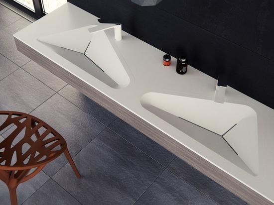 Il bagno Sink By Le Projet l'Was di Monolit ispirato dalle forme di ogni giorno trovate in un ambiente urbano