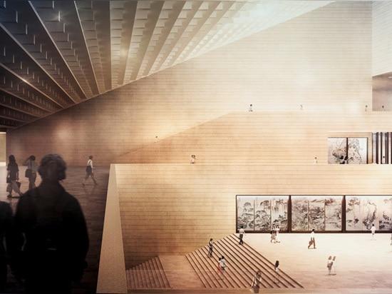 l'altezza aumentante del volume della costruzione può essere percepita all'interno del museo
