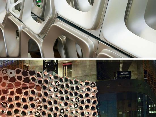 2500 pannelli di alluminio compongono questa facciata scultorea dall'artista australiano Alexander Knox