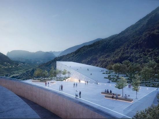 Snøhetta propone il museo sviluppantesi a spirale della vetta per «Ötzi l'uomo Ghiaccio»