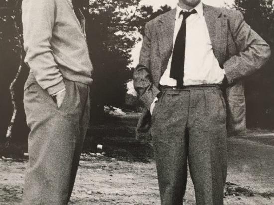 Fritz Hahne (a destra) al sito del ramo futuro in Espelkamp, 1954.