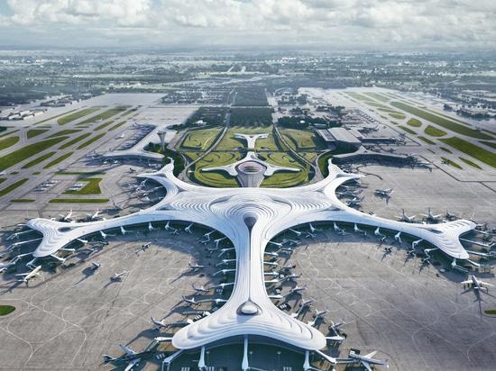 """MAD rivela il design """"a fiocco di neve"""" per il terzo terminale cinese dell'aeroporto di Harbin Airport Terminal Three"""