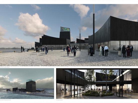 Guggenheim Helsinki è progettato come collezione di padiglioni carbonizzare-legname-placcati e di plaze modific il terrenoare organizzati intorno ad una via pedonale centrale. Legga più: Moreau Kus...