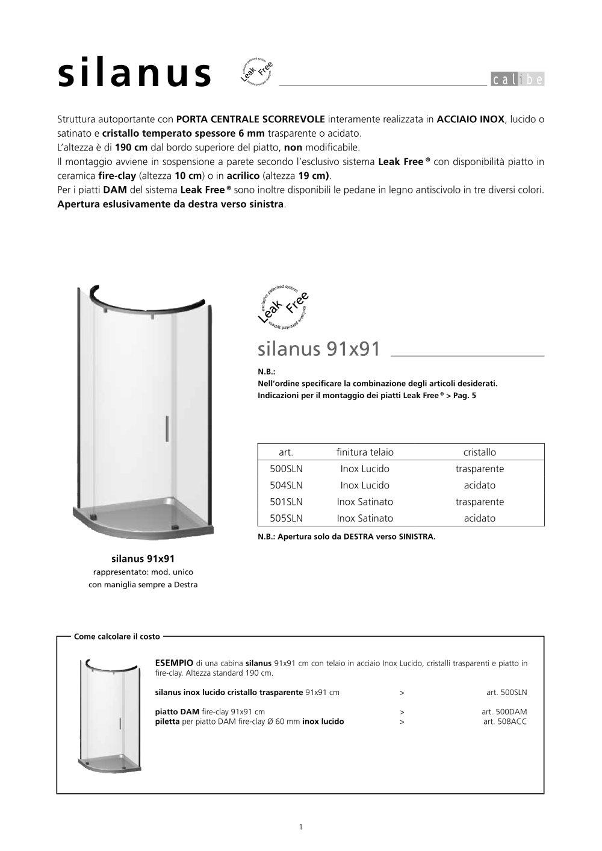 Altezza Standard Cabina Doccia.Silanus Calibe Catalogo Pdf Documentazione Brochure