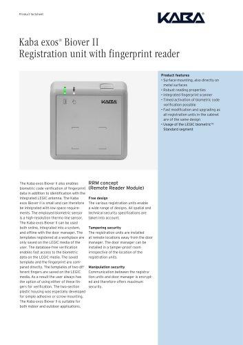 Kaba exos® Biover II Registration unit with fingerprint reader