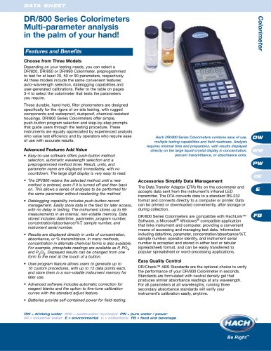 DR/800 Series Colorimeter Brochure
