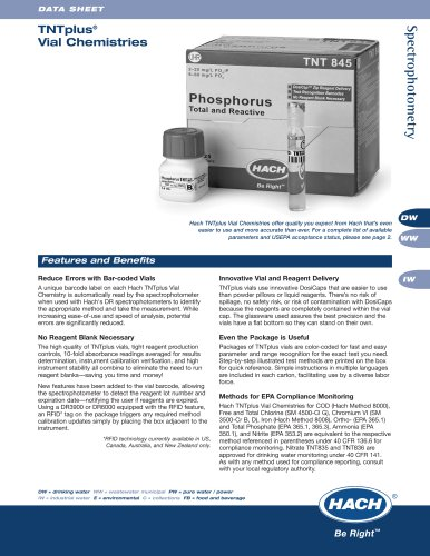 TNT Plus® Vial Chemistries