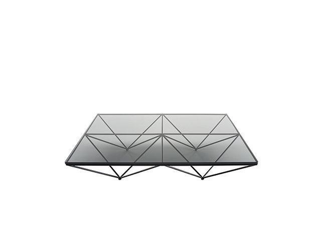 tavolino basso design originale / in vetro / in metallo cromato / rettangolare