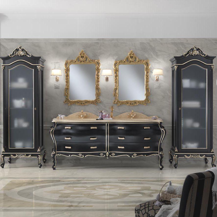 Mobile lavabo doppio / da appoggio / in legno laccato / in ...