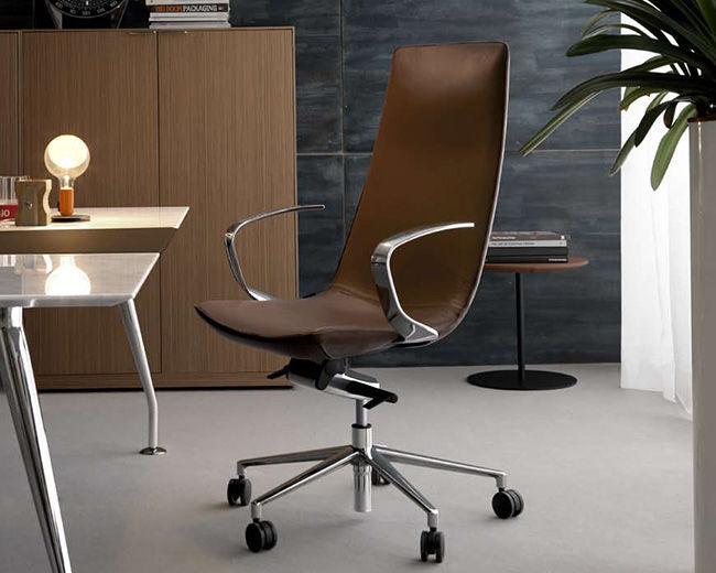Poltrona Direzionale Design.Poltrona Direzionale Moderno In Metallo In Pelle Con