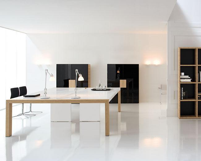Tavolo da riunione moderno / in legno / rettangolare / quadrato ...