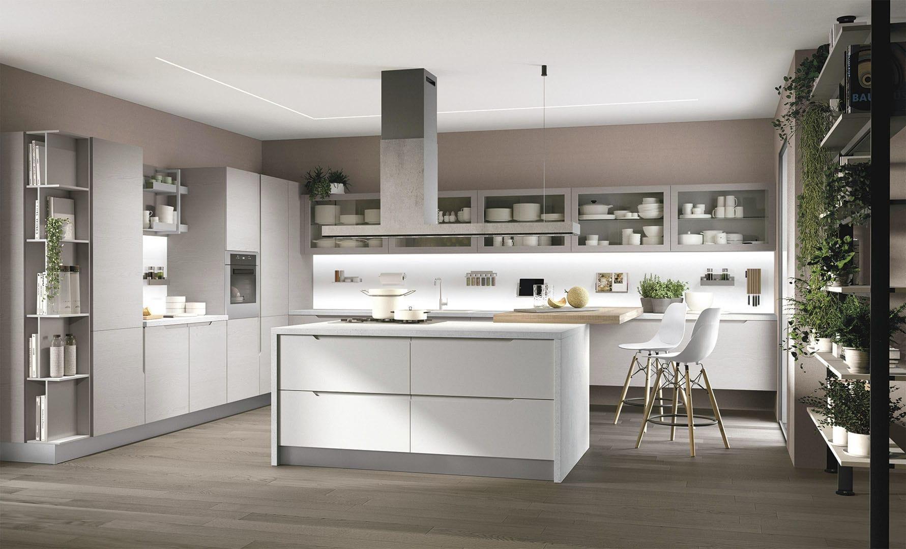 Cucine Moderne Con Isola Lube.Cucina Moderna In Legno Con Isola Laccata Luna