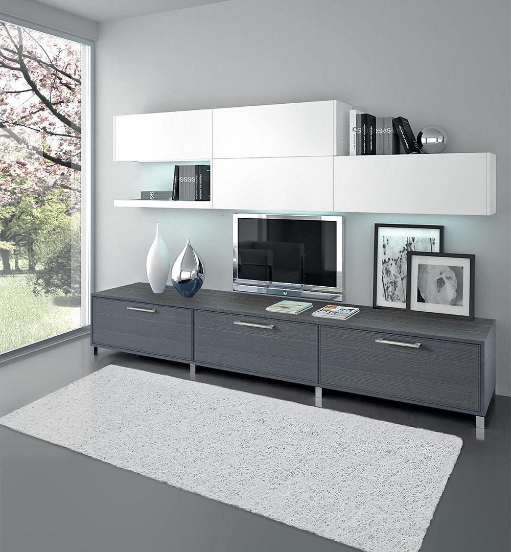 Parete attrezzata TV moderno / in legno laccato - ADELE - CUCINE LUBE