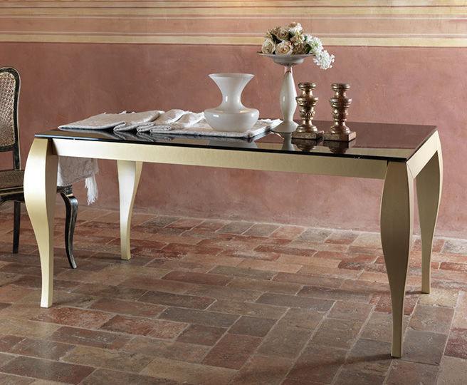 Tavolo classico in legno massiccio rettangolare bianco