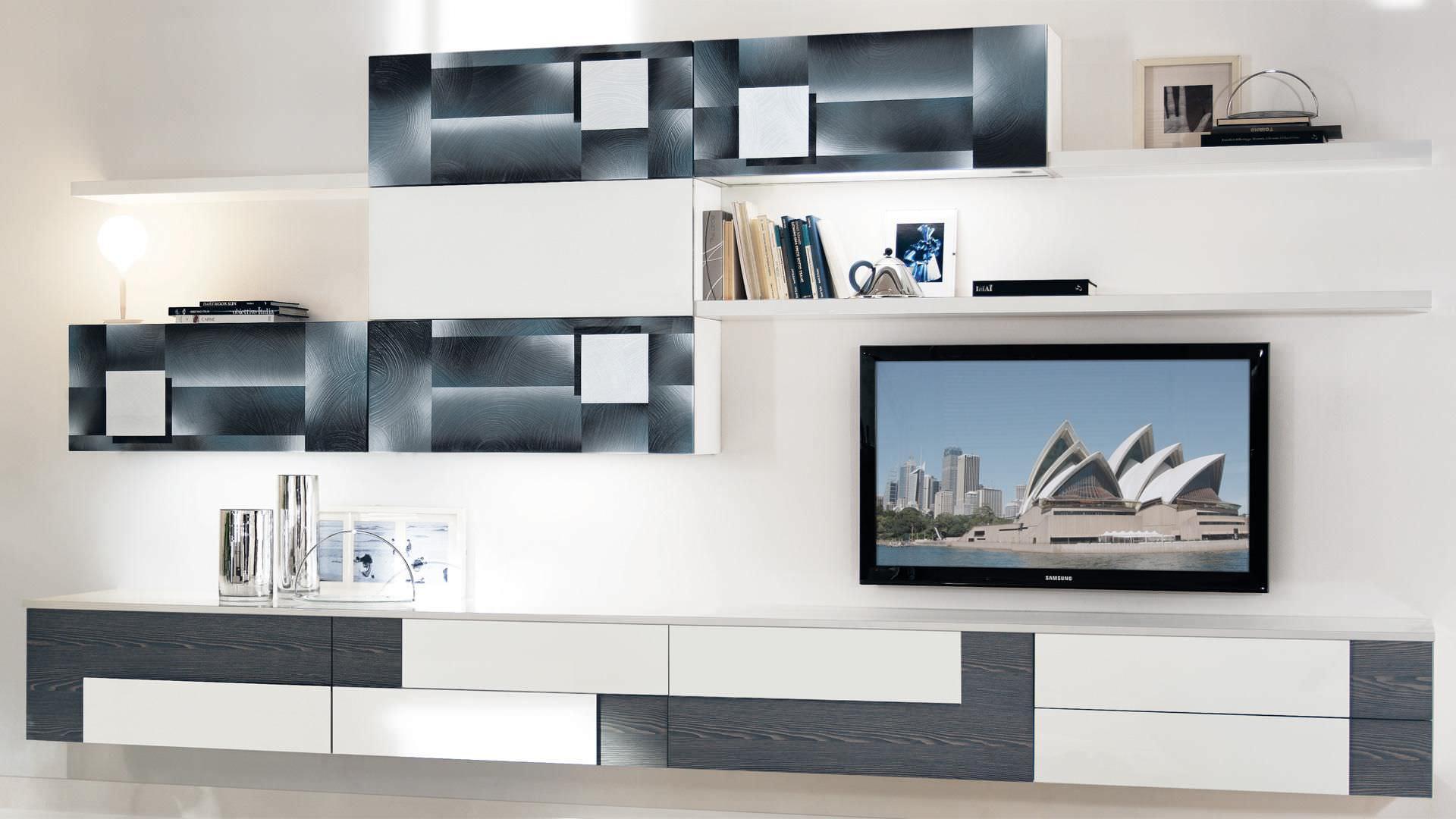 Parete attrezzata TV moderno / in legno CREATIVA CUCINE LUBE
