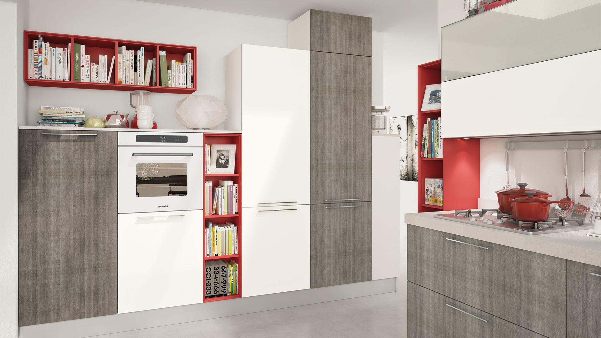 Cucina moderna / impiallacciata in legno / laccata / con ...