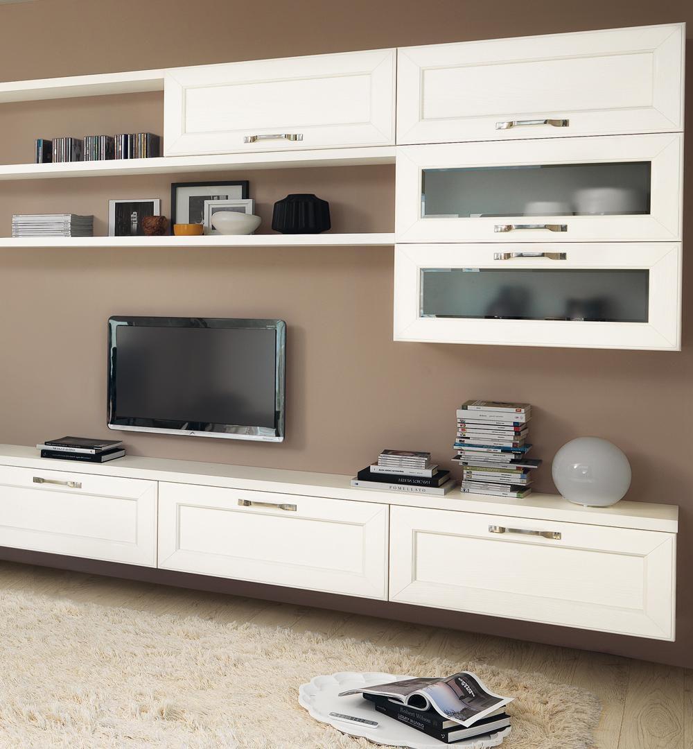 Parete attrezzata TV moderno / in legno - CLAUDIA - CUCINE LUBE