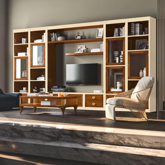 Porta Tv Classico Le Fablier.Parete Attrezzata Tv Classico In Legno Laccato Le Mimose