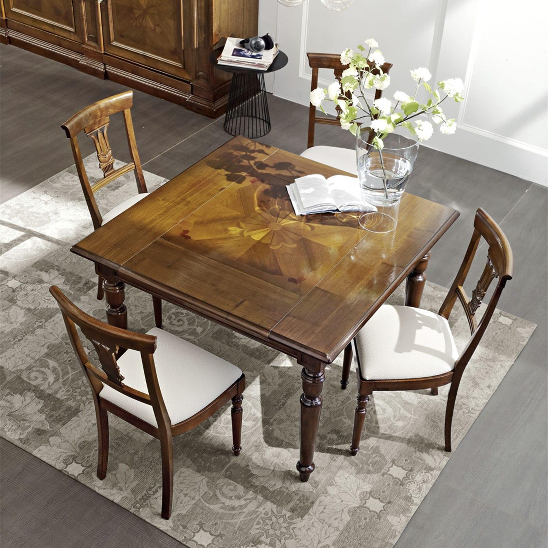 Tavolo classico / in noce / quadrato / allungabile - QUADRO ...
