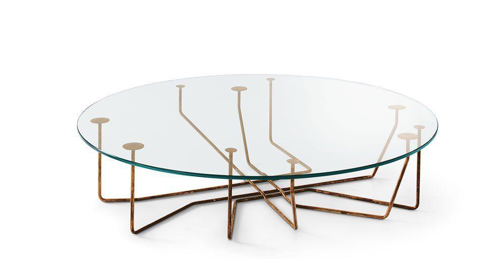 Tavolino Cristallo Ottone.Tavolino Basso Design Originale In Vetro In Vetro