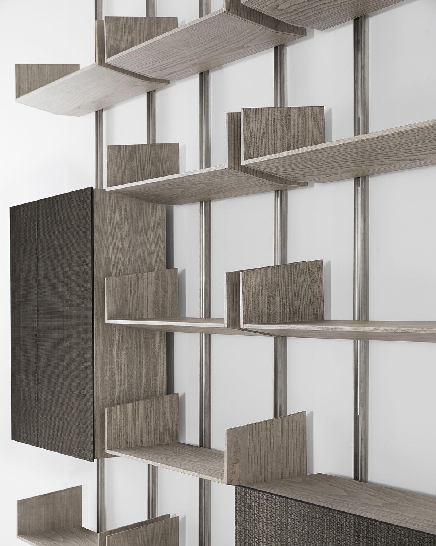 Libreria A Muro In Legno.Libreria A Muro Modulare Moderna In Legno Brera By Massimo