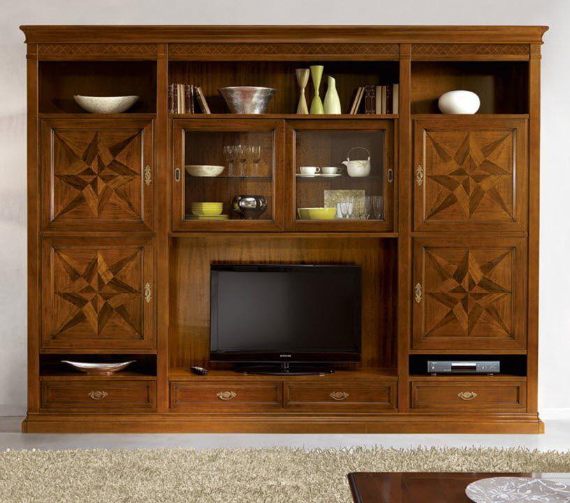 Parete attrezzata TV classico / in legno massiccio ...