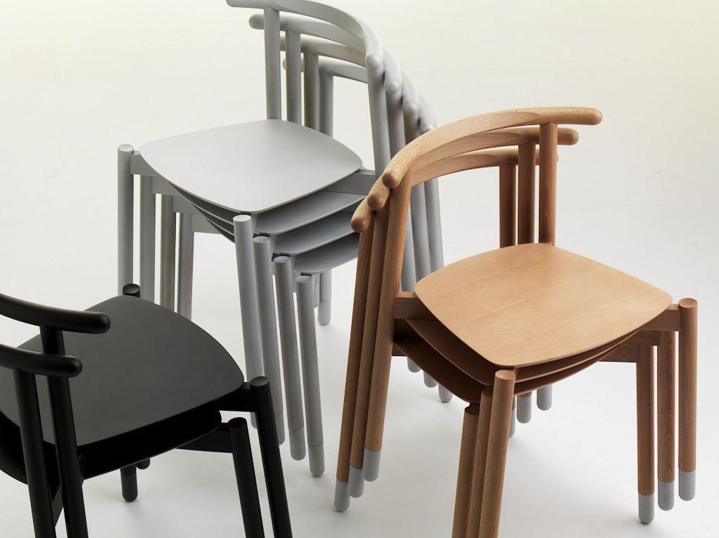 Sedie In Legno Massiccio.Sedia Moderna Impilabile In Legno Massiccio In Faggio