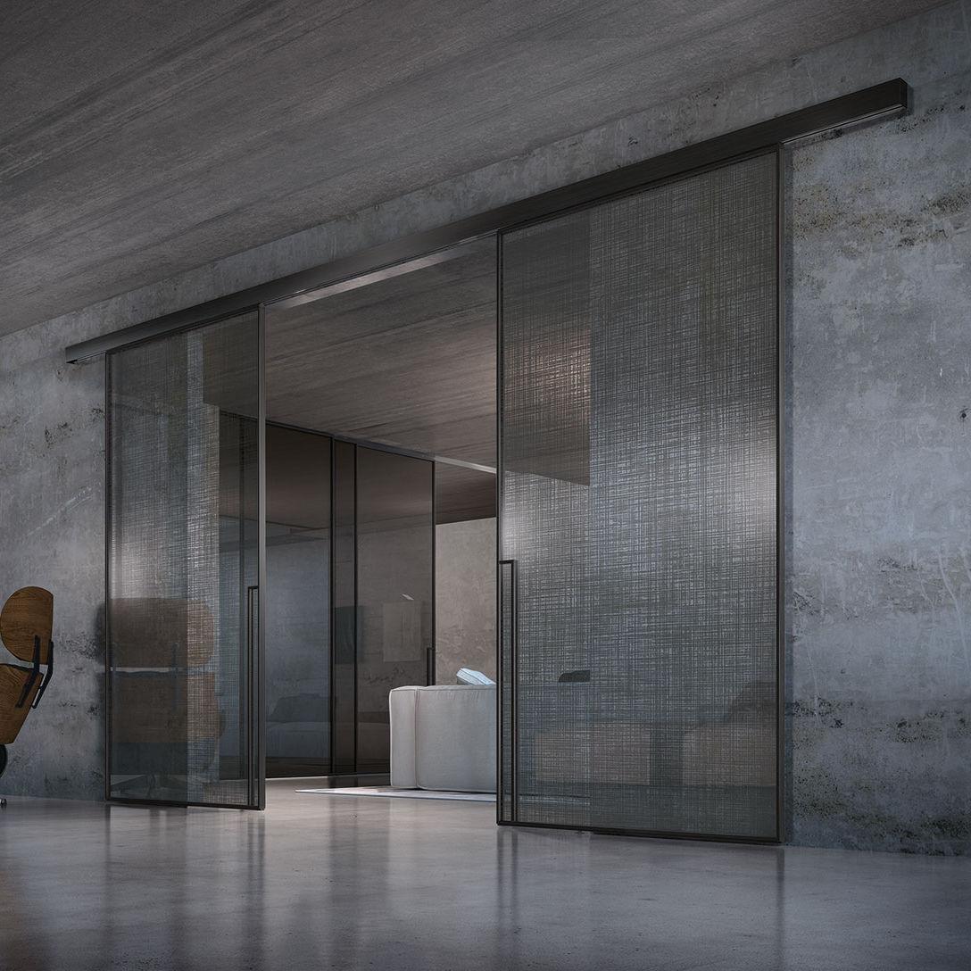 Porta Da Interni Scorrevole In Vetro Doppia External Wall Sliding Door Manhattan Classic Line Henry Glass