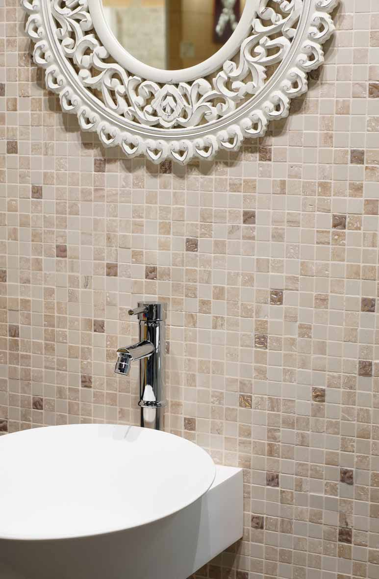 Mosaico Da Bagno Da Parete In Marmo Beige Travert
