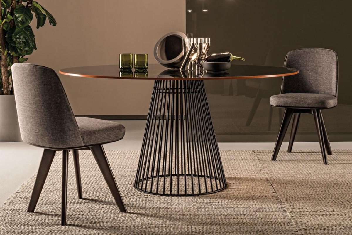 Tavolo Rotondo Vetro Acciaio.Tavolo Moderno In Vetro Fume In Acciaio Tondo Carlino Casa Int