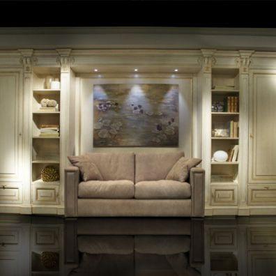 Parete attrezzata per soggiorno classica / in legno laccato ...