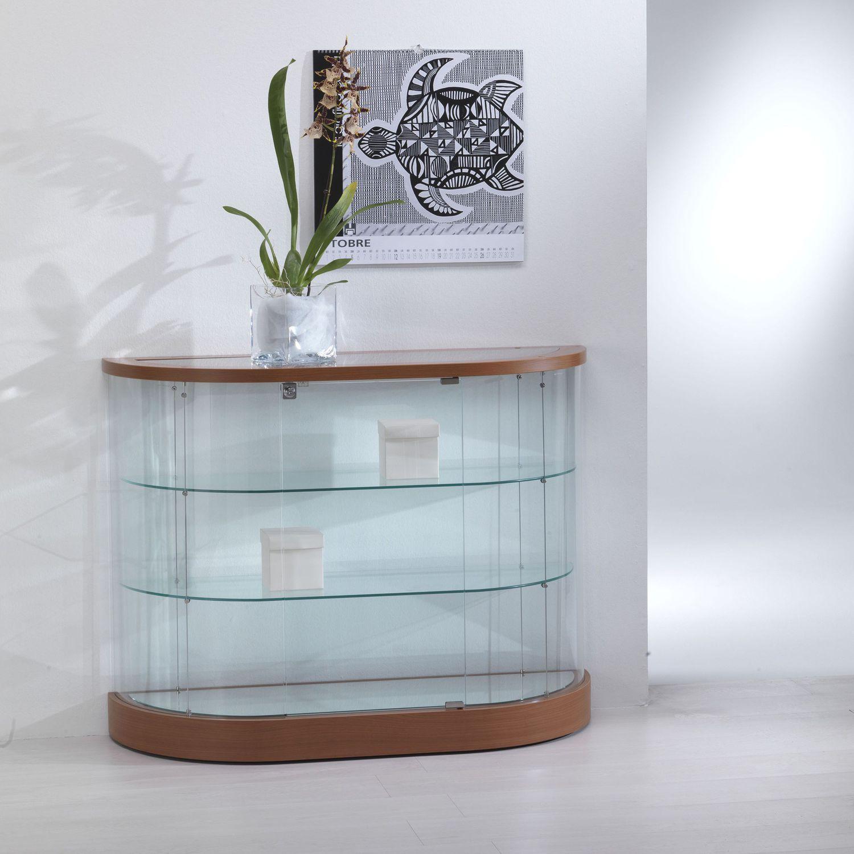 Vetrina moderna / su piedistallo / in vetro / in quercia ...