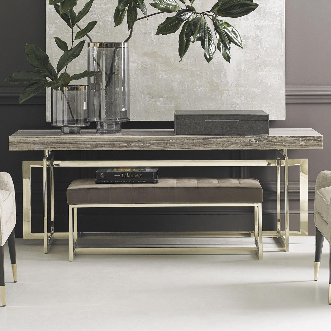 Divanetto imbottito moderno / in velluto / in metallo dorato / per camera  da letto CARACOLE CLASSIC - SIT BY ME CARACOLE