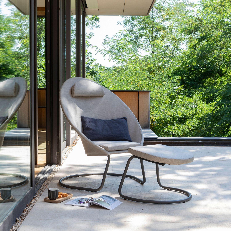 Sedia A Sdraio Moderna Lafuma.Poggiapiedi Moderno In Tessuto In Acciaio Per Esterni