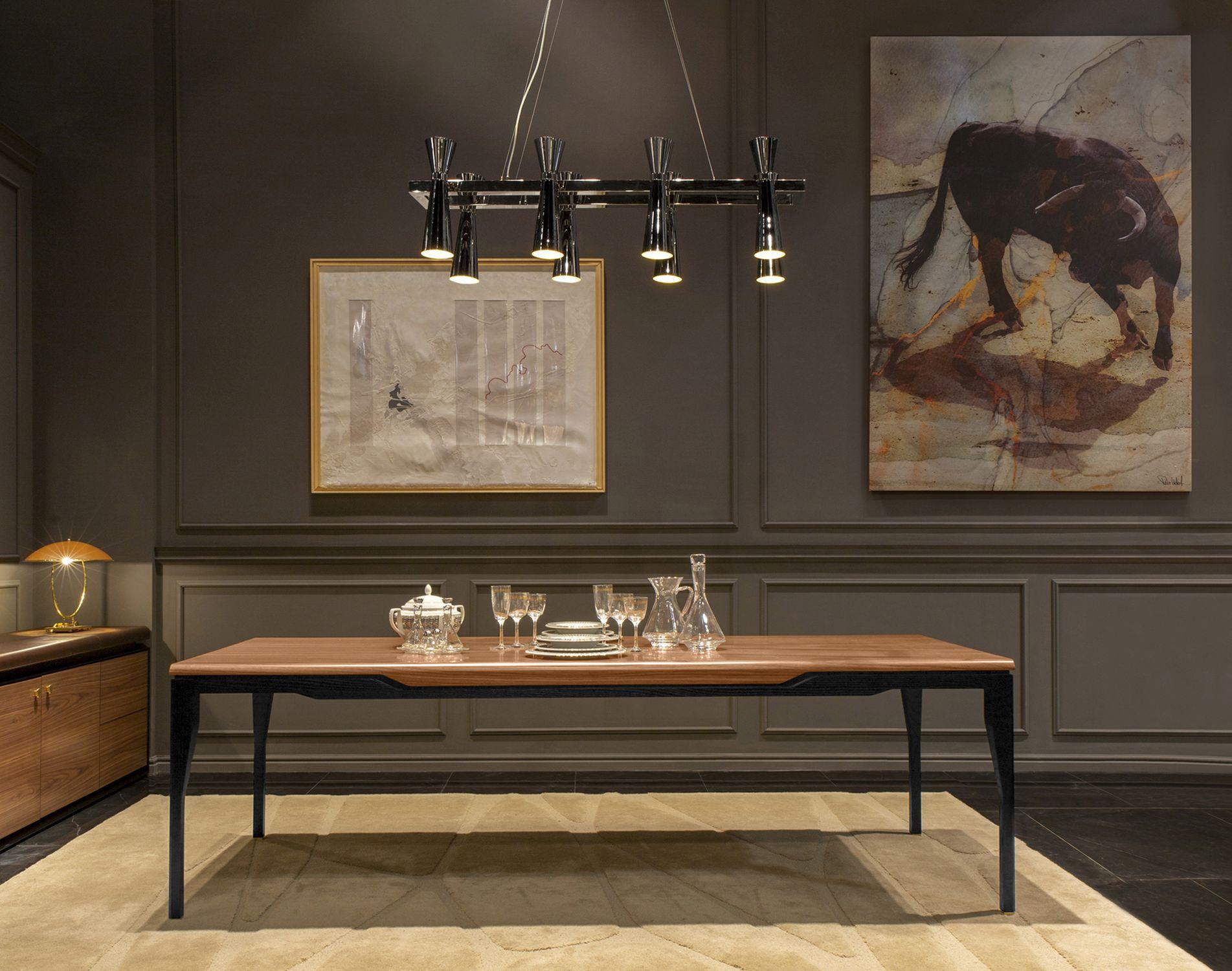 Tavolo da pranzo moderno / impiallacciato in legno / con ...