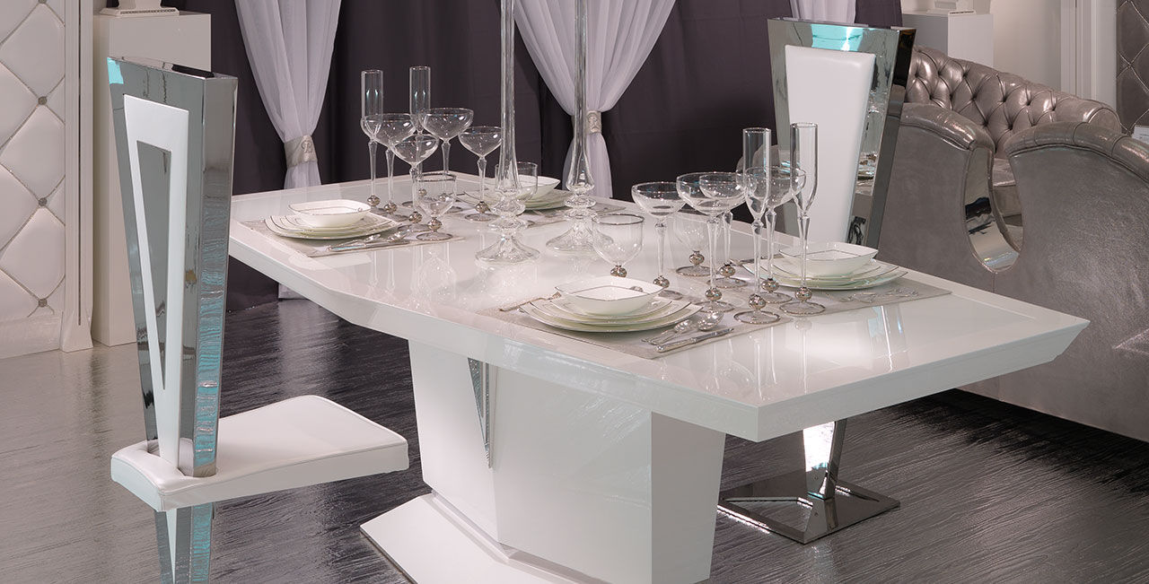 Tavolo moderno / in vetro laccato / bianco - OPERA 30 - BRUMMEL