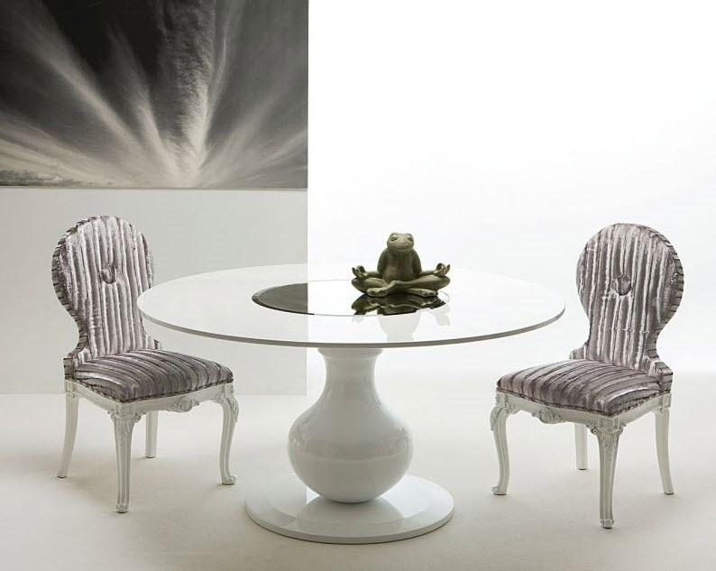 Tavolo Tondo Laccato Bianco.Tavolo Da Pranzo Moderno In Legno Laccato Tondo Bianco