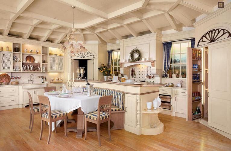 Cucina in stile provenzale / in legno / fatta a mano / con ...