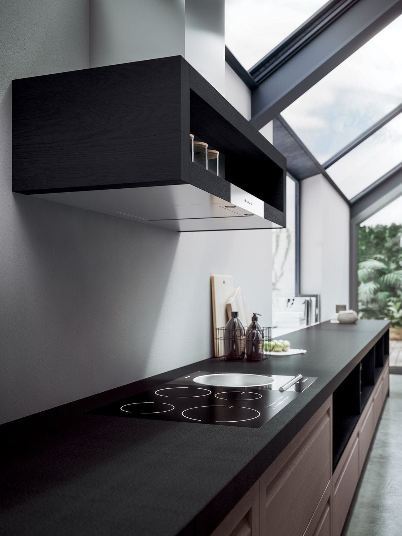 Cucina moderna / impiallacciata in legno / in quercia / in ...