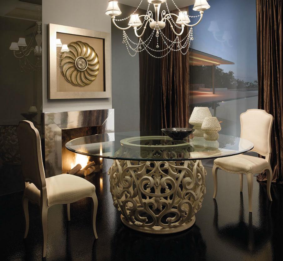 Tavoli In Cristallo Prezzi.Tavolo Design Nuovo Barocco In Vetro Ovale Medea Giusti Portos